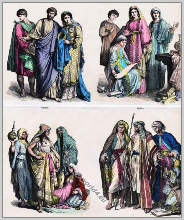 Christian and Arab clothes 4th to 6th Century. costume history
