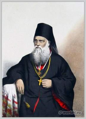 Greek Orthodox Bishop costume. Metropolitan of Mount Athos. Priest clothing.