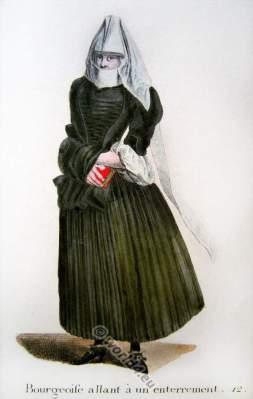 Swiss citizen woman in mourning dress. Switzerland Baroque costume recherche. 17th centur fashion