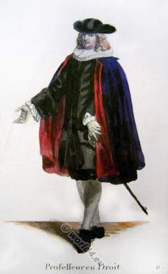 Official costume of a Swiss judge. Switzerland Baroque fashion costume recherche. 17th century clothing