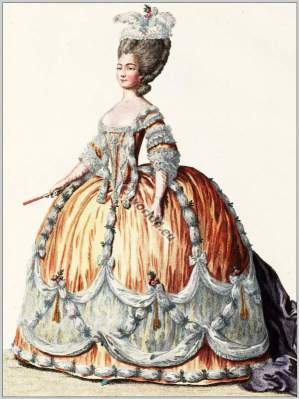 farthingale,Princess of Sardaigne. Rococo fashion. 18th century costumes. Fashion history.