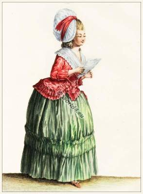French girl in Caraco Rococo costumes. Vintage France fashion. Costume Designer ideas and research.