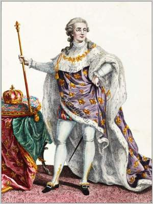Louis XVI. Court dress. Rococo fashion. 18th century costumes. Galerie des modes