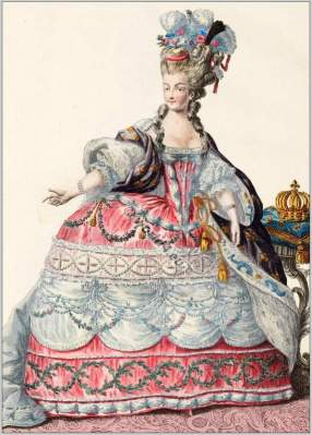 farthingale,Marie Antoinette en Robe de Cour 1780. French Ancien Régime fashion. French Rococo costumes. Hoop skirt, Farthingale. Le Pouf.