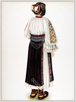 Romanian Meria - Huniedoara folk costume. Romania Transylvania national costumes. Traditional embroidery patterns