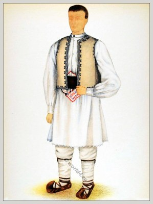 Romanian Huniedoara, folk costume. Romania Transylvania national costumes. Traditional embroidery patterns