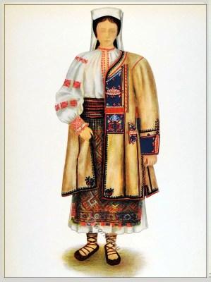 Romanian Beiuș, folk costume. Romania Transylvania national costumes. Traditional embroidery patterns