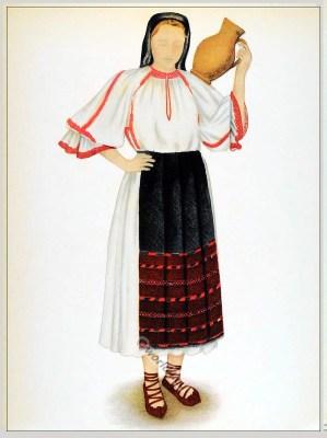 Tărancă din Cluj, Transilvania. Siebenbürgen Klausenburg Tracht