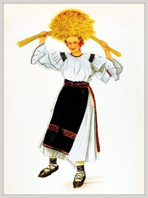 Romanian Bistrița-Năsăud folk costume. Romania Transylvania national costumes. Traditional embroidery patterns