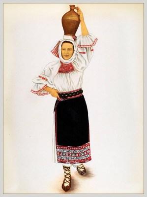 Tărancă tanara depe Mureș, Transilvania. Siebenbürgen Tracht.