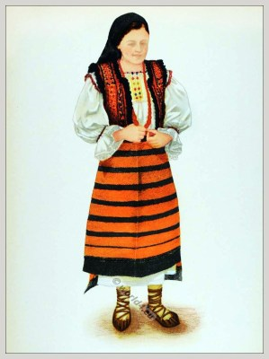 Romanian Maramureș folk costume. Romania Transylvania national costumes. Traditional embroidery patterns