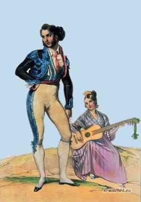Traditional Spain national costume. Bolero Jacket. Espagnol Bolero dance costumes. Bolero dance. castanets.