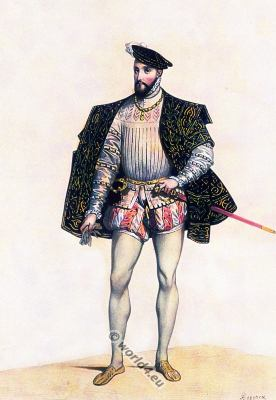 Henry II. French king. Medieval fashion. Renaissance clothing. 16th century court dress