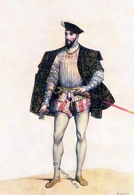 16th century costume. Henry II. King of of France. Renaisance fashion
