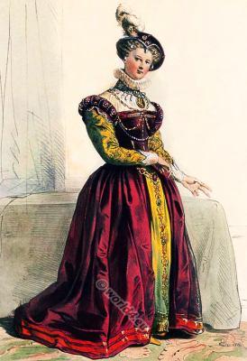 Tudor costume. Mary Stuart, Queen Elizabeth I. 16th century fashion. Renaissance costumes