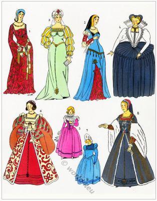 Renaissance dresses. Robes. Les modes de la renaissance.