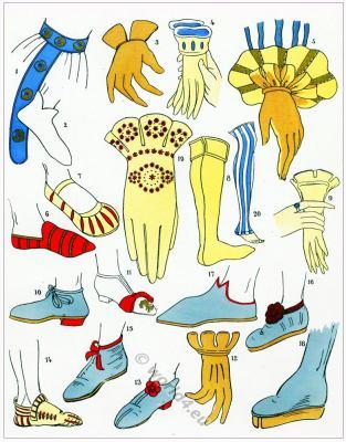 Renaissance shoes and gloves fashion. CHAUSSURES. Les modes de la renaissance.