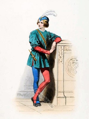 Page of the French court of Charles V. Medieval Burgundian fashion. Middle ages court dress. Goth costume