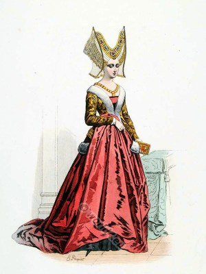 Roman noble family of the Orsini. Burgundian Fashion. Middle ages goth costume. Ceremonial robes.