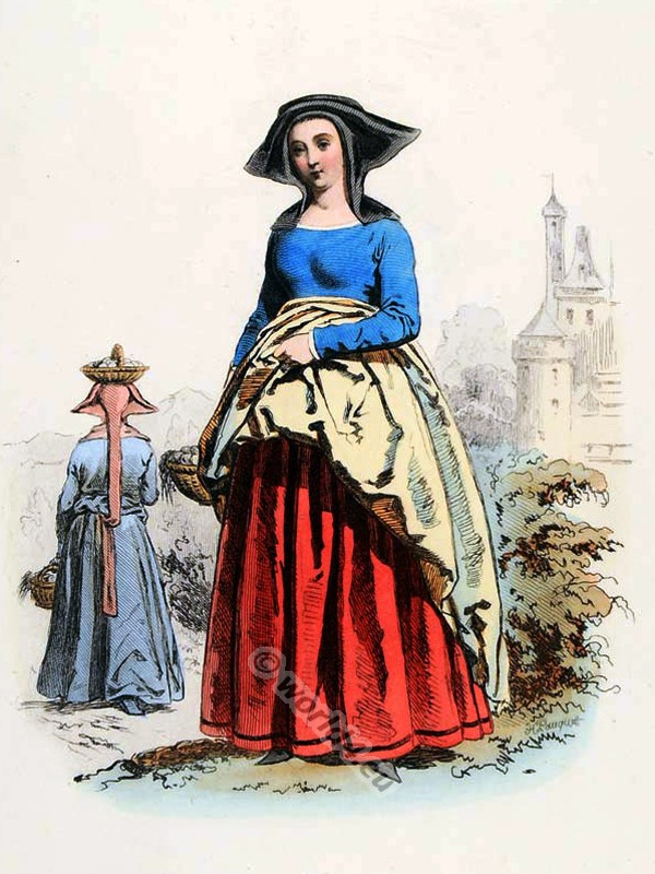 French Parisian medieval clothing. Female Goth costume. 15th century fashion.