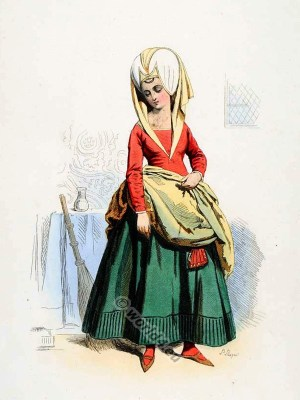 Chamber maid costume. French lady's maid clothing. France medieval cloth. 15th century fashion