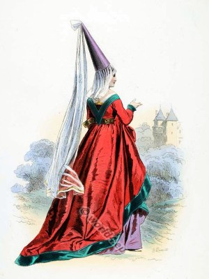 French Medieval woman clothing. Burgundian costume with Hennin. 15th century fashion. Ceremonial robes. Goth clothing. Womens clothes in the middle ages