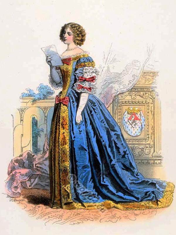 Louise de La Baume Le Blanc de la Valliere. Baroque costumes. 17th Century clothing. Louis XIV fashion. Court Dress in Versailles