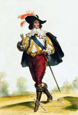 Nobleman fashion. Musketeer. Baroque costumes. 17th century clothing.