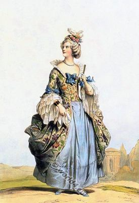 court louis XV. Rococo fashion. 18th century. nobility costume