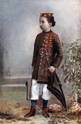 National costumes of India. Traditional Parsee women folk clothing. Zoroastrian strange costumes