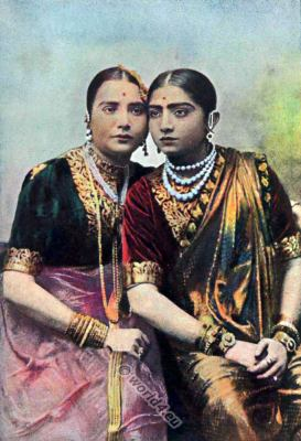 National costumes of India. The Nautch girls. Indian classical dancers. Dance costume