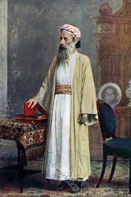 Jewish Priest in India, 19th century. Jewish National costume. Traditional Jewish Priest clothing