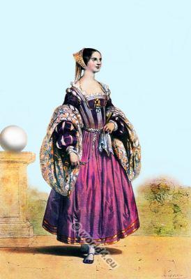 Venetia fashion. Venetian noble women. Italy Renaissance costume.