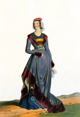 France, medieval, costumes, Middle ages, 15th century, fashion,