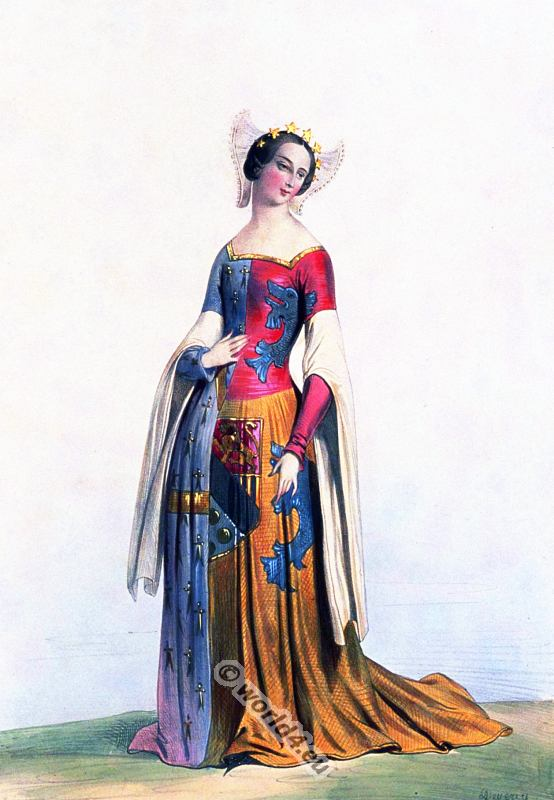 France, medieval, costumes, Middle, ages, costume, fashion