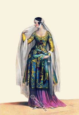 13th century costumes. Medieval Italy fashion