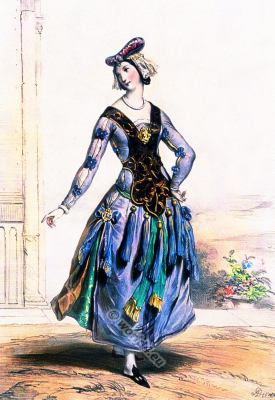 Maid of honor. 14th century Medieval  Gothic clothing, Burgundian costume. French Queen Isabeau de Bavaria court dress