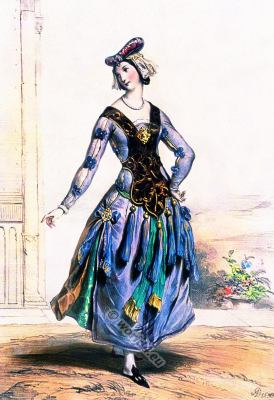 Middle ages fashion history. French Maid of honor. 14th century costume.