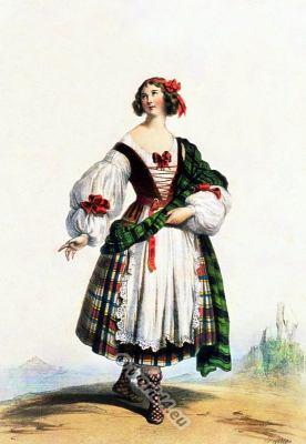 Medieval Scottish woman costume 14th century clothing. Scottish national costumes. Scottish Kilt.