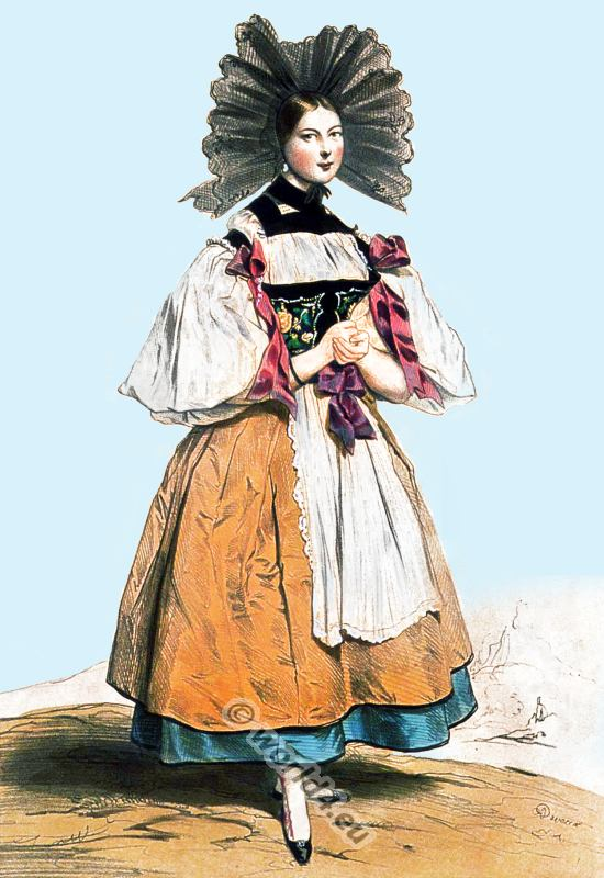 Traditional Switzerland national costumes. Swiss folk dresses. Clothing from the Canton of Canton of Bernese.
