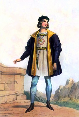 English gentleman in gothic fashion. Burgundian clothing. England Medieval costume.