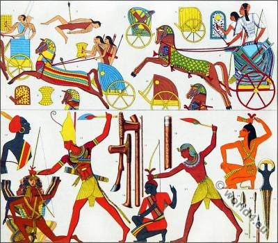 Ancient Egyptians in the battle field. Pharaoh in the war regalia. Egypt King fighting. Egyptian Chariot with charioteer. Horses, decoration.