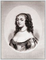 Henriette d'Angleterre Princess of England. Baroque period hairstyle. Louis XIV fashion and costume period.