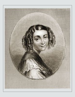 Virginie Ancelot. Famous woman during French empire period hairstyle. Early feminist.