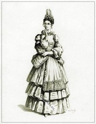 Commedia dell'arte Theater Costume Colombine, Masques et bouffons, Actors of the comédie italienne.