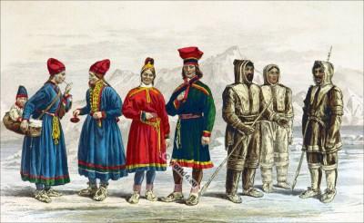 Traditional Sami clothing. Lapland Folk Costumes. Traditional Eskimo dress