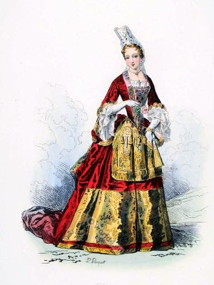 French baroque costume. 17th century, French Ancien Régime fashion. Costume court of Louis XIV