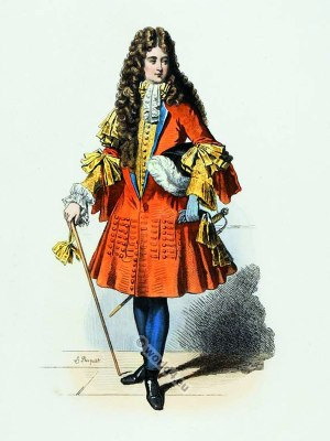 French baroque costume. Chevalier fashion court of Louis XIV. 17th century, French Ancien Régime clothing