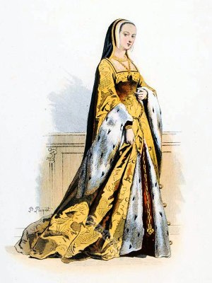 Anne of Brittany. Queen of France. 15th century fashion. Renaissance. Tudor costumes