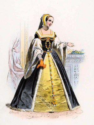 Queen Claude of France. Renaissance costumes. 15th century fashion. nobility court dress.